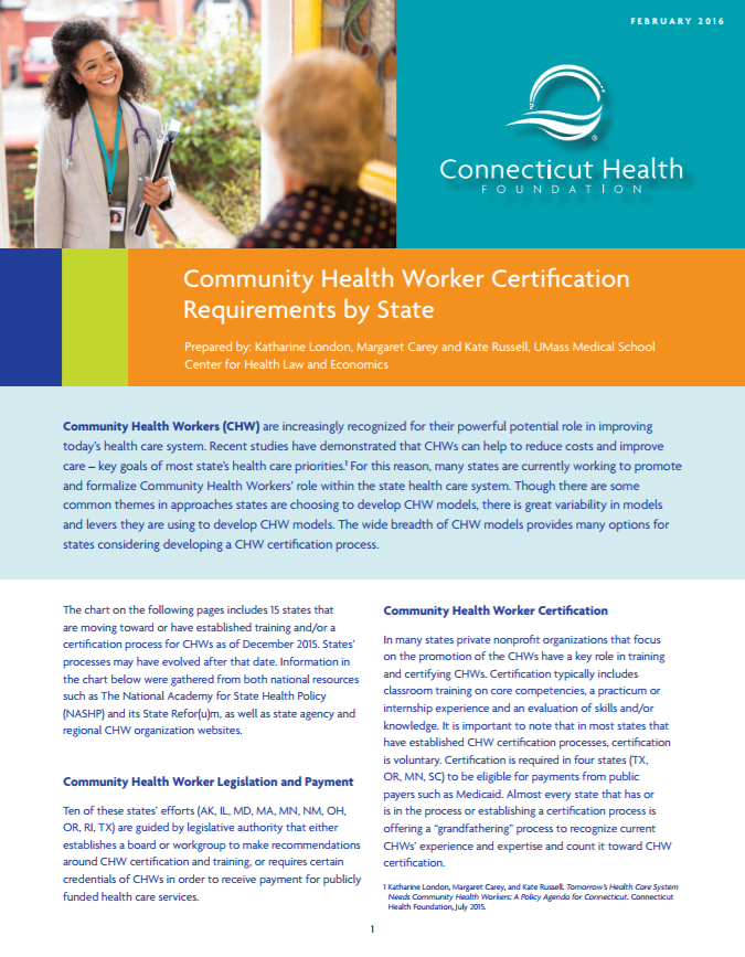 Community Health Worker Certification In 15 States Connecticut