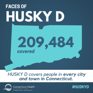 "This is a graphic that shows the state of Connecticut with the text ""209,484 covered."" The rest of the graphic has text that says Faces of HUSKY D: HUSKY D covers people in every city and town in Connecticut."