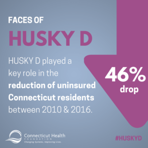 This is a graphic shows a downward arrow and has text that says Faces of HUSKY D: HUSKY D played a key role in the reduction of uninsured Connecticut residents between 2010 & 2016.