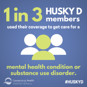This is a graphic that shows the outlines of three people with text that says 1 in 3 HUSKY D members used their coverage to get care for a mental health condition or substance use disorder.
