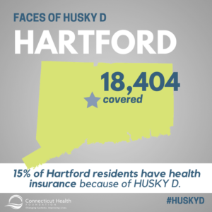 "This is a graphic that shows the state of Connecticut with a star where Hartford is and text that says ""18,404 covered."" The rest of the graphic has text that says Faces of HUSKY D: Hartford. 15% of Hartford residents have health insurance because of HUSKY D."