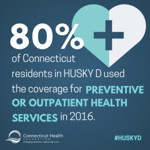This is a graphic that shows a picture of a heart with a medical cross in the middle. It has text that says 80% of Connecticut residents in HUSKY D used the coverage for preventive or outpatient health services in 2016.