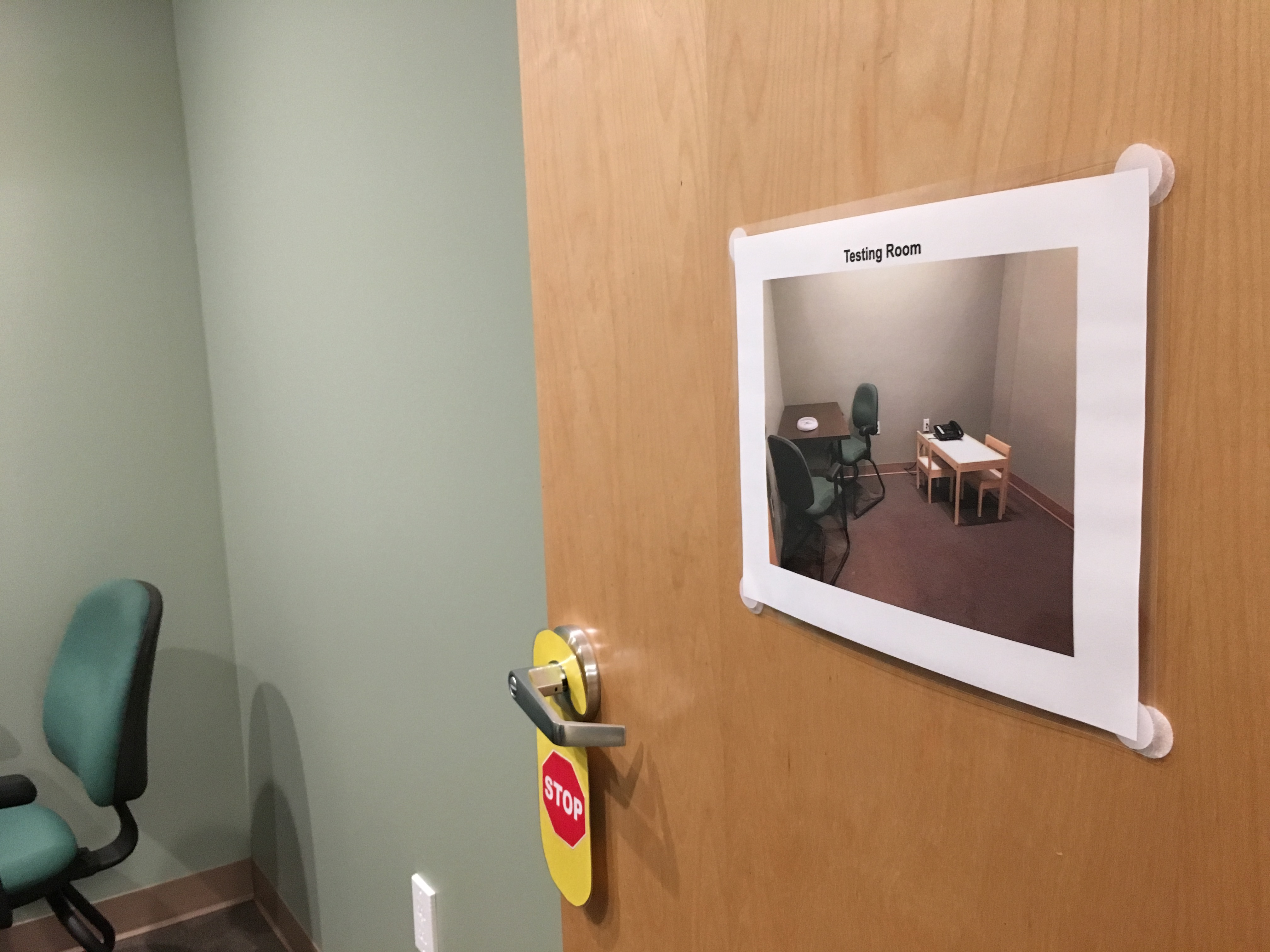 The doors at Marne Street Clinic have pictures of the inside of the room so kids know what to expect when they walk in.