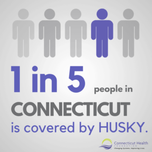 "This is a graphic that shows the outline of five people, one which is purpose and four which are gray. The text below it says ""1 in 5 people in Connecticut is covered by HUSKY."""