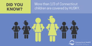 "This is a graphic with text that says ""Did you know? More than 1/3 of Connecticut children are covered by HUSKY."" It shows six outlines of children. Two are green and four are black."