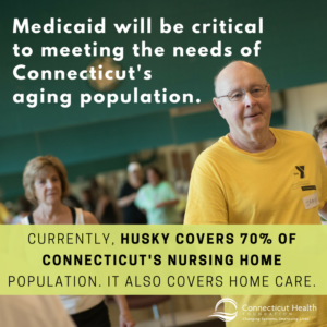 This is a picture of seniors in an exercise class with text over the photo that says Medicaid will be critical to meeting the needs of Connecticut's aging population. Currently, HUSKY covers 70% of Connecticut's nursing home population. It also covers home care.