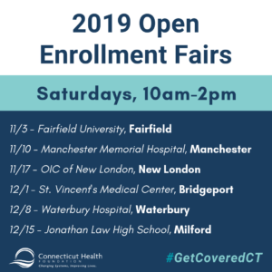 This is a graphic that lists 2019 open enrollment fairs for health insurance