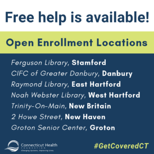 This is a graphic that says Free help is available! with open enrollment locations for 2018