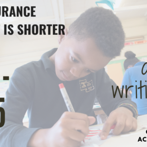 This is a graphic with a photo showing a boy writing at a desk in a classroom with text that says Health insurance enrollment is shorter this year! Nov 1-Dec 15 are you writing this down? Get free help, visit accesshealthct.com