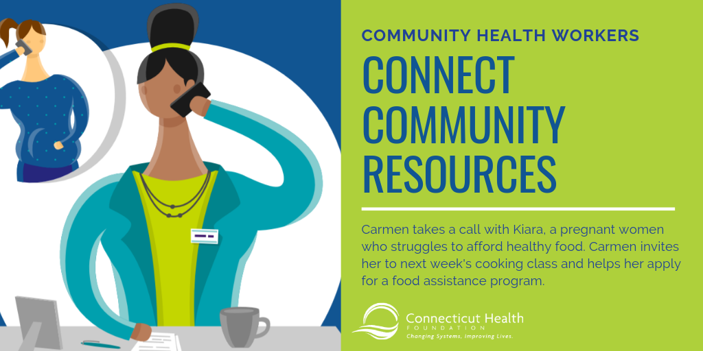 This is a slide from an infographic about community health workers. It shows a picture of a community health worker at her desk on the phone with a woman who is pregnant. The text next to it says community health workers connect community resources. Carmen takes a call with Kiara, a pregnant women who struggles to afford healthy food. Carmen invites her to next week's cooking class and helps her apply for a food assistance program.