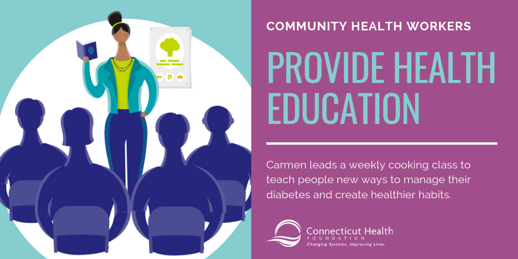 This is a slide from an infographic that shows a woman standing in front of several people holding up a book. The text says Community health workers provide health education. Carmen leads a weekly cooking class to teach people new ways to manage their diabetes and create healthier habits.