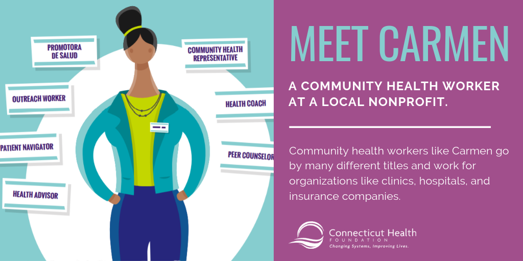 This is a photo of an infographic about a community health worker named Carmen that says: Meet Carmen, a community healht worker at a local nonprofit. Community health workers like Carmen go by many different titles and work for organizations like clinics, hospitals, and insurance companies.