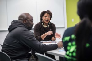 This is a photo of Loretta D. Lloyd-Ebron teaching a class.